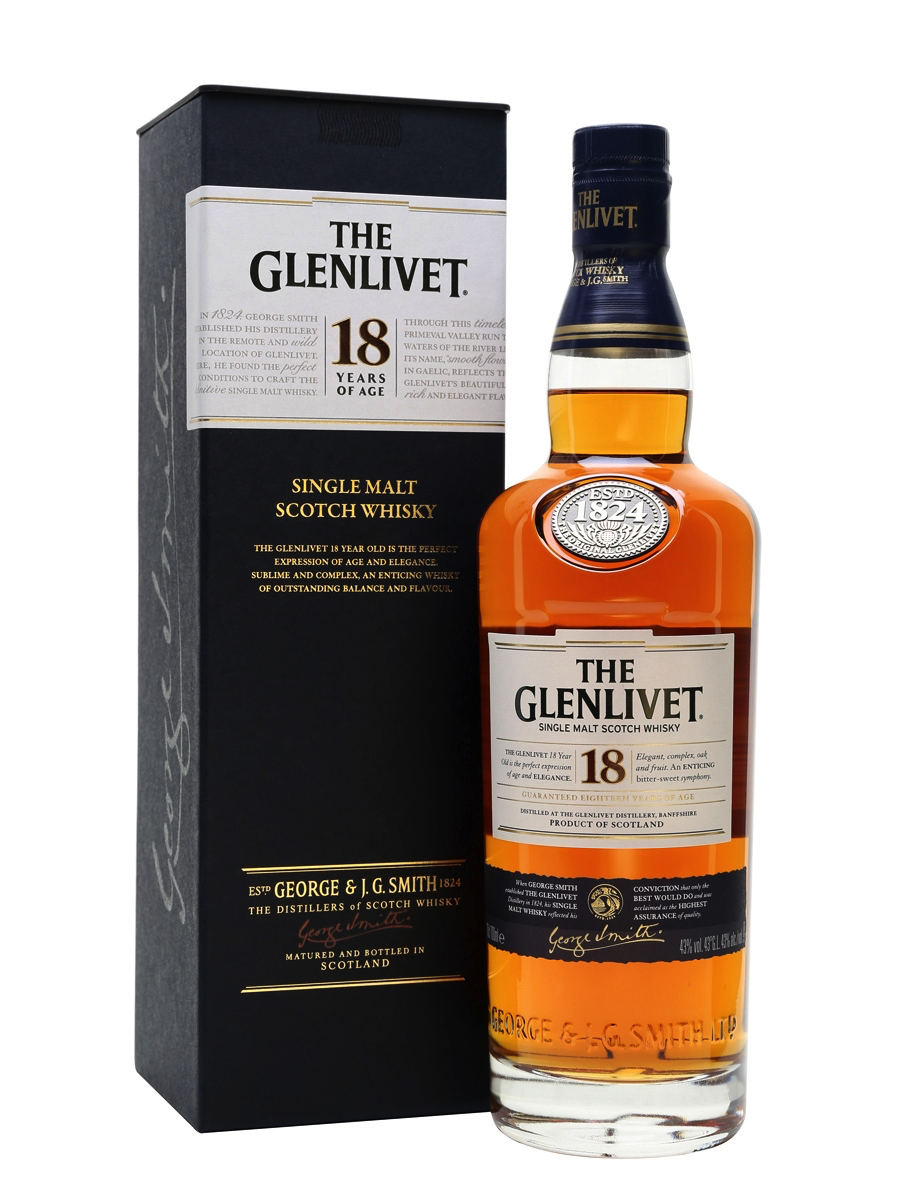 Glenlivet 18 - 6. Glenlivet 18- Average Price: $95Let us introduce one of the most floral, and fruity 18- year olds you will meet. The Livet 18 has a classic whisky feel to it.  The 18 years of this spirit are spent in a variety of barrels. First and second fill American and European Oak casks marry to create a very distinctive flavor profile. Fruity, Nutty, Rich, buttery goodness. Go grab yourself a bottle.