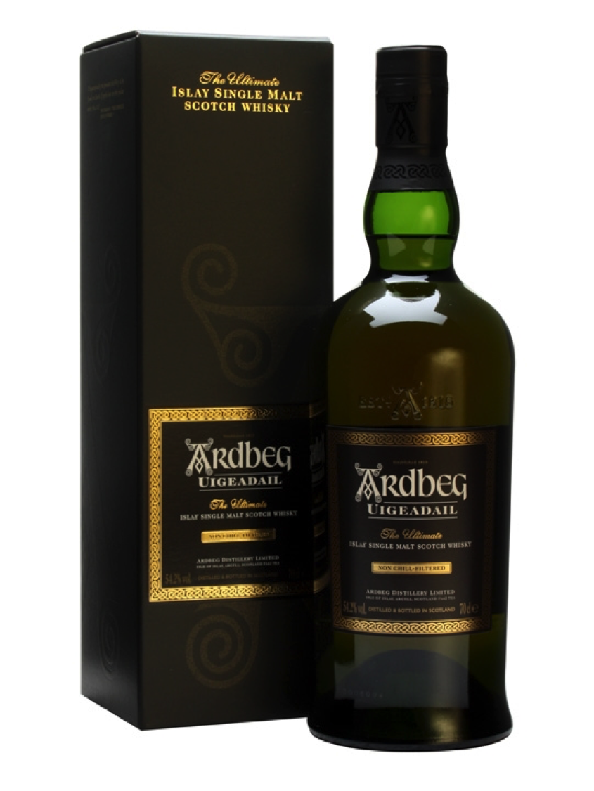 "Ardbeg Uigeadail - 3. Ardbeg Uigeadail- Average Price: $70 *From Ardbeg: In 2009, Jim Murray's Whisky Bible named Ardbeg Uigeadail 'World Whisky of the Year' – in praise of its ""utter silky brilliance"" and ""complexity on a level only a handful of distilleries in the world can even dream of reaching.""Pronounced 'Oog-a-dal', it's a special vatting that marries Ardbeg's traditional deep, smoky notes with luscious, raisiny tones of old ex-Sherry casks. Ardbeg Uigeadail was voted by the 120,000+ strong Ardbeg Committee as their favourite Ardbeg."