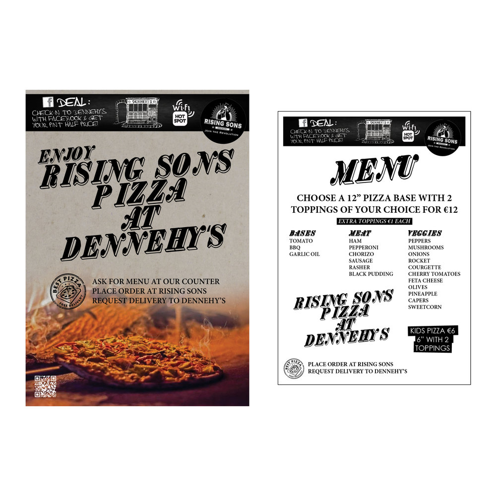 A4 Poster & Menu: Dennehy's Bar 2017
