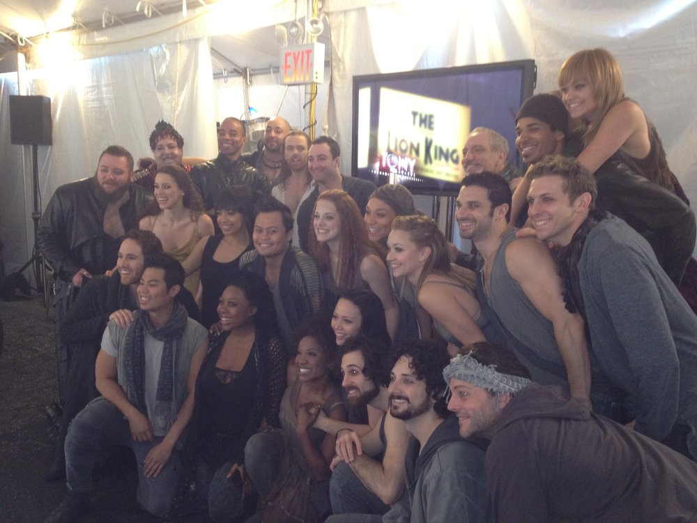 JCS cast backstage at the Tonys