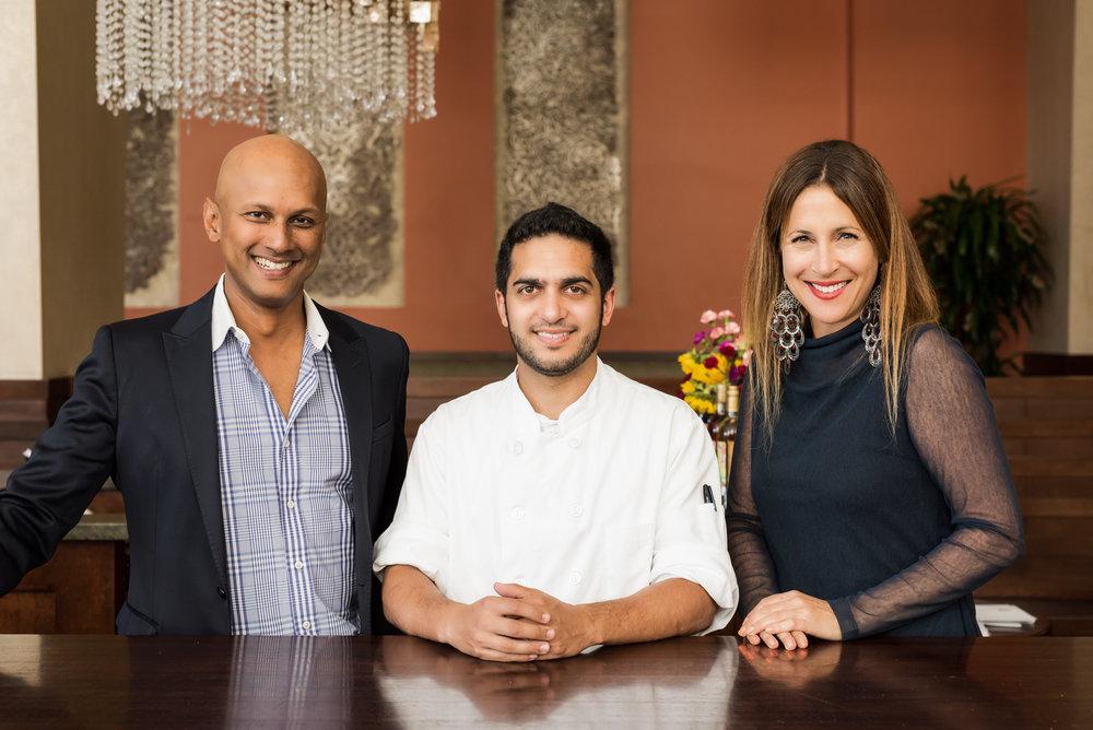 Executive Chef Arun Gupta w/founders Anjan & Emily Mitra