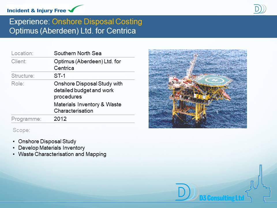 Onshore Disposal Costing Optimus (Aberdeen) Ltd. for Centrica