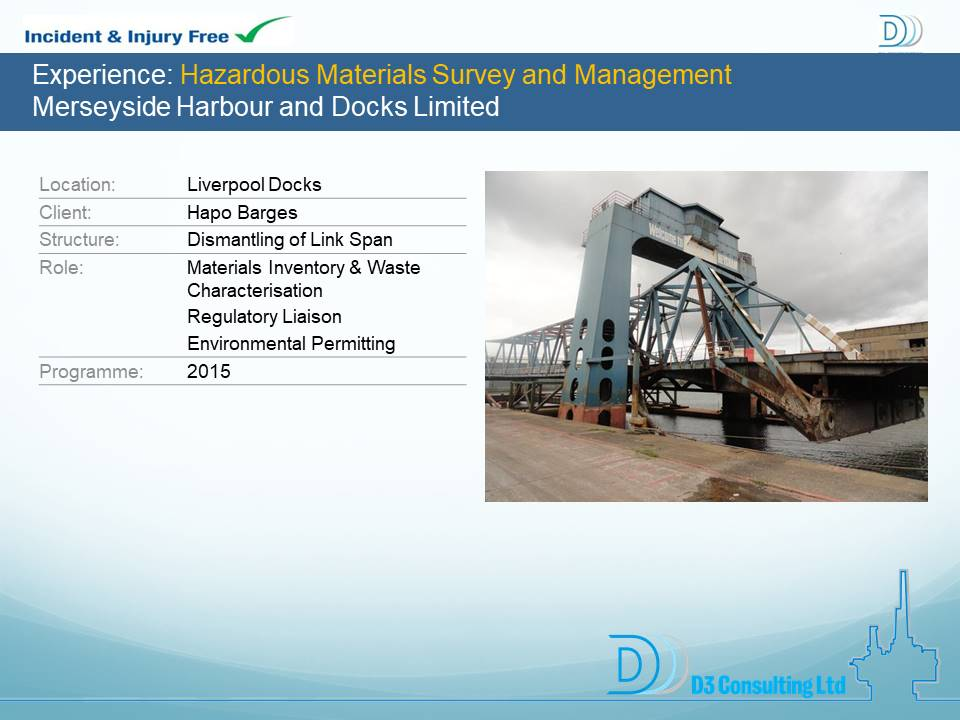 Hazardous Materials Survey and Management Merseyside Harbour and Docks Limited