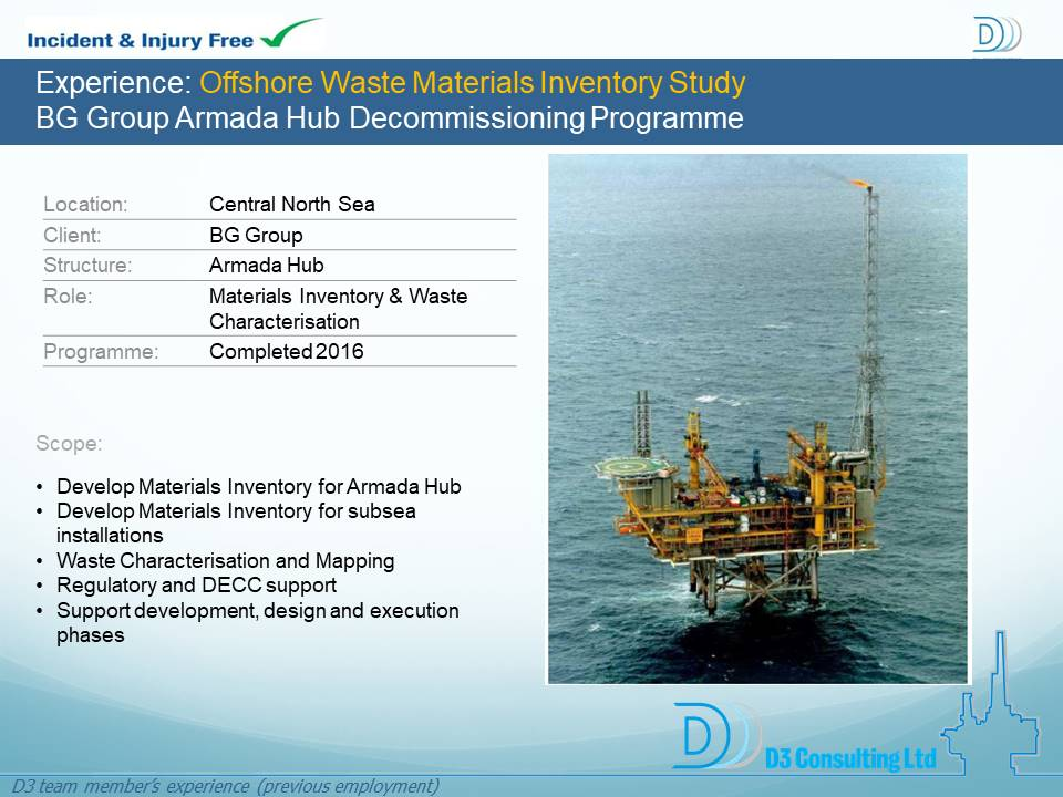 Offshore Waste Materials Inventory Study BG Group Armada Hub Decommissioning Programme