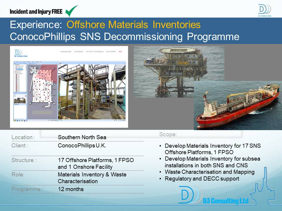 Offshore Materials Inventories ConocoPhillips SNS Decommissioning Programme