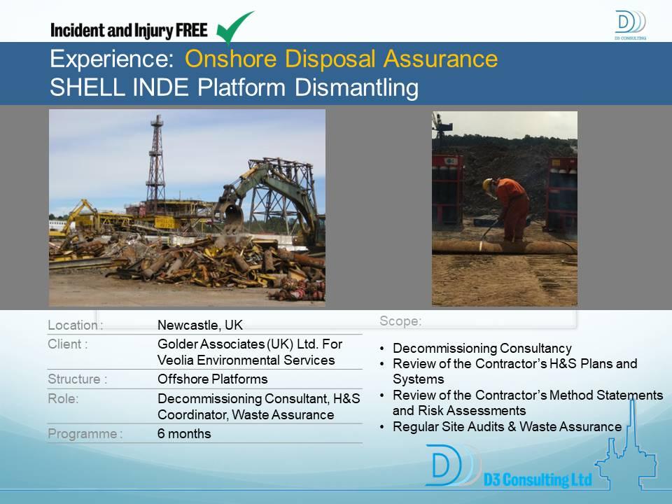 Onshore Disposal Assurance SHELL INDE Platform Dismantling