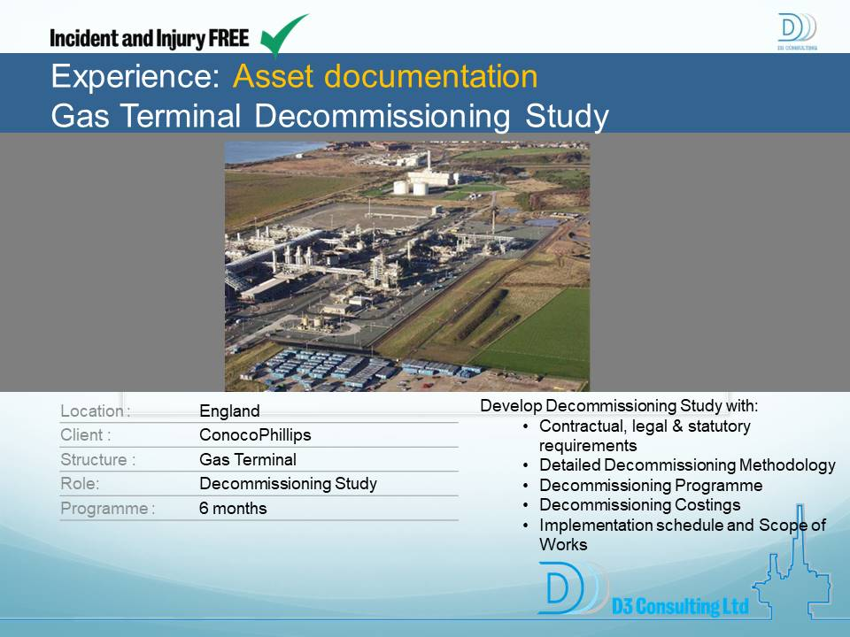 Asset Documentation Gas Terminal Decommissioning Study