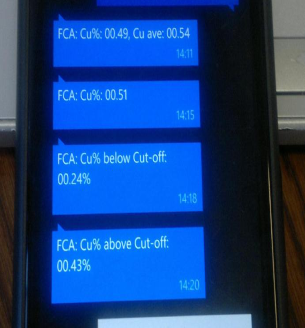 SMS of normal situation after cut-off alarm disappeared