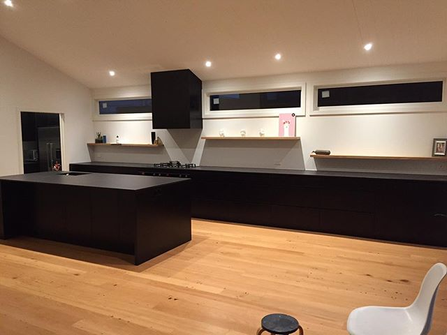 Black on black on black. A recent design and build of ours in a beautiful renovated villa in Grey Lynn.  #kitchen #modern #design  #fluidinteriors