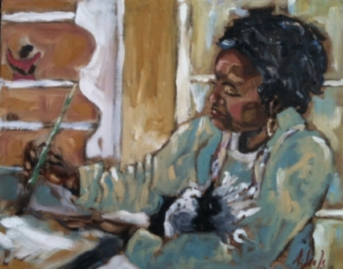 "Ann Seale's portrait of Rosalind (Roz) Roy featured in the ""Artists by Artists"" exhibition at the Mississippi Museum of Art in 2012."