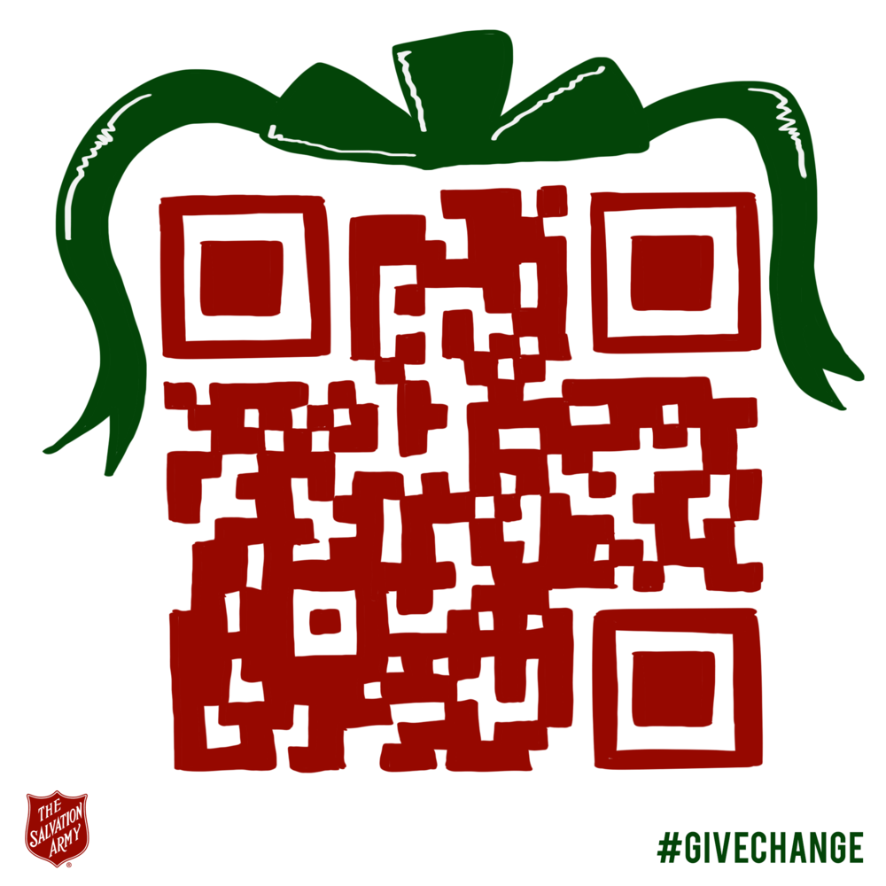 Passers by will be able to scan the unique Salvation Army QR code which directs them to their website to choose a donation amount.