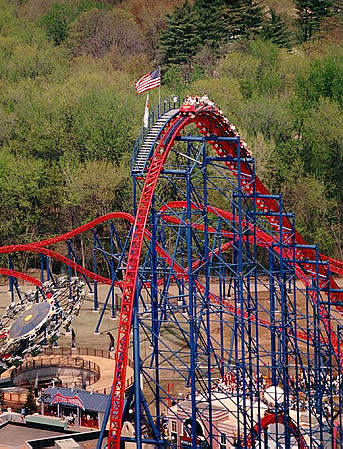 Here is the Superman: Ride of Steel in action. This rollercoaster was brand new when Six Flags New England opened its doors on May 5, 2000. It is very highly rated among rollercoaster enthusiasts.