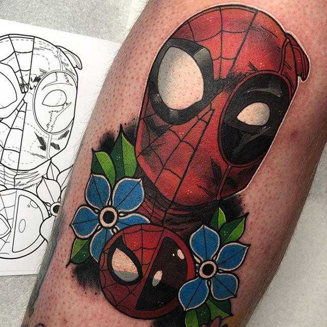 Spider-Man VS Deadpool for @charlieedington today! Thank you as always bro! ✨ - @butterluxe_uk @ghostcartridges @starrtattoosupplies @fkirons @worldfamousink ❤️