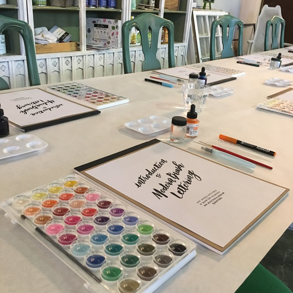 Meant To Be Calligraphy Brush Lettering Workshop At Stylish Patina in Fairfax Virginia.JPG
