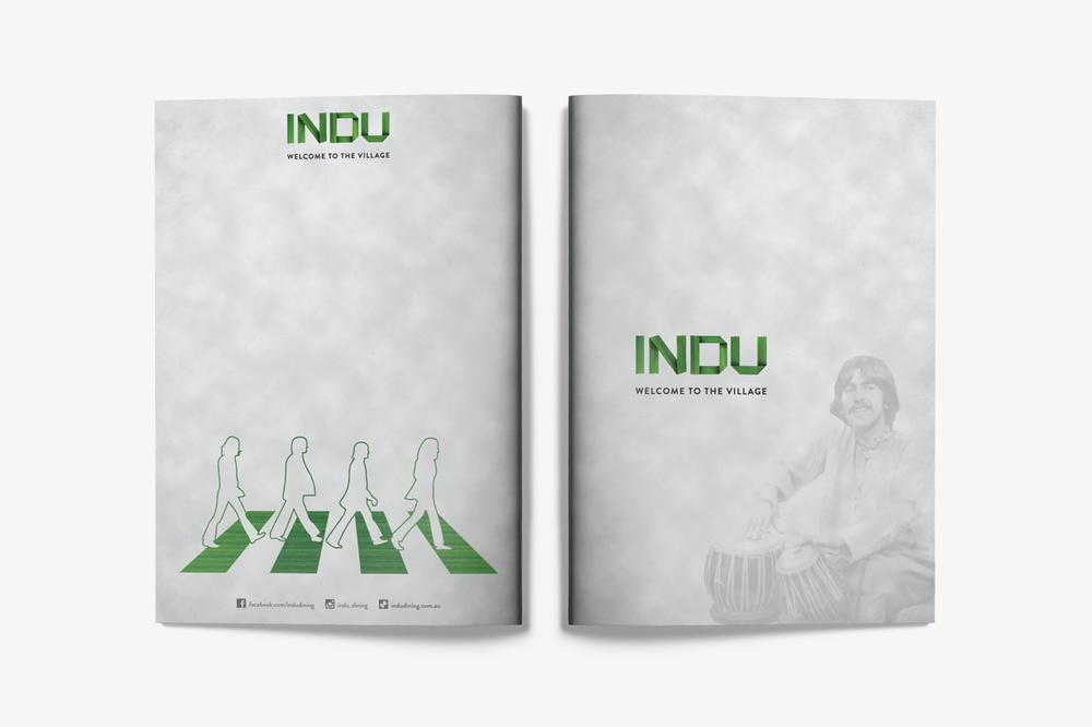 INDU的Menu左边的这张图就是餐厅招牌吸引到我的地方!让我迫不及待想知道INDU和甲壳虫乐队的关系。