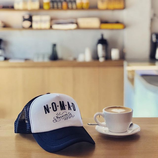 Monday's are about morning coffee at @barrelonecoffeeroasters while wearing a @nomadbrewingco cap...supporting those local businesses 🤟 . . . #brand #branddesign #agencylife #localbusinesses #brookvale #designagency #coffee #cafe #cap #truckerscap #flatwhite #barrelonecoffee #studioldn