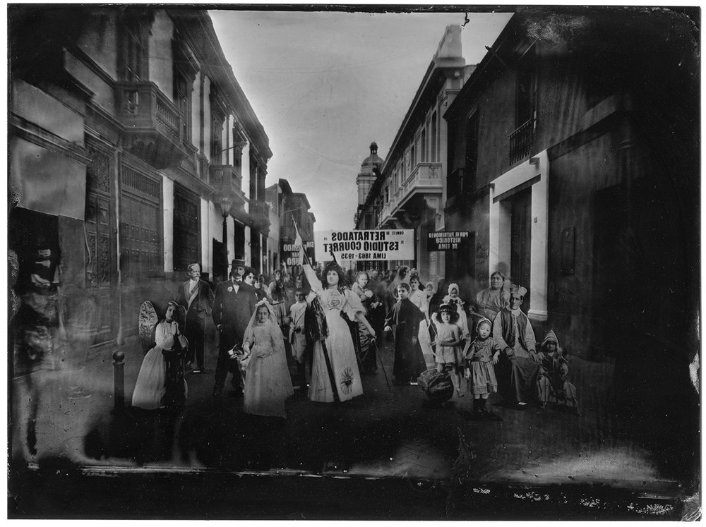 The history of the Fotografía Central photography studio is undoubtedly one of the most important threads in the fabric of Peruvian photographic history. Founded in 1863 by the brothers Eugene and Aquiles Courret, two French citizens living in Peru since the 1840s, the studio quickly became the most prominent in the Peruvian capital –in part thanks to the acquaintances of Mr. Courret Senior amongst Lima's most notable citizens– and survived, albeit with new ownership, up until the end of the first third of the twentieth century. It was nearly seven decades of uninterrupted work, in which the studio was the privileged stage of the development of the culture of the photographic image and it's technical, aesthetic and social changes.  The crisis in the photography business of the 1930s (product of such diverse factors as the global economic crisis, the spread of instant cameras and changes in the social practices of the representation of identity) forced the closure of the studio in 1935. The more than 150,000 negatives stored throughout its history served to pay the workers of the studio at the time of its closure, so one of the most valuable photographic archives in the history of Peruvian photography was dispersed. In 1987, the National Library of Peru acquired 54,000 of those negatives and formed the Archivo Courret, one of the most important repositories of the history of photography in Peru.  The building where the studio operated still stands a few meters away from Lima's Plaza de Armas, in the first block of Jirón de la Unión, one of the most important commercial streets in the city Center. The building now serves other uses and except for its characteristic art nouveau façade, which dates from 1905, little remains of the old photography studio.  CURATORS TEXT   THRESHOLD OF OBLIVION   When we think of it from the perspective of its duration in time, the act of sitting for a portrait is an exercise in anticipated nostalgia. For nearly 70 years, members of the h