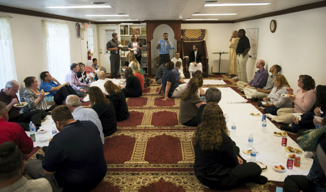 Mohamed Omar, former Lebanon Valley Mosque president and former teacher's aid in the Lebanon School District, speaks to Lebanon School District staff at the Lebanon Valley Mosque on Monday, June 8, 2015. Staff members of the Lebanon School District visited the mosque to learn more about Islam. Jeremy Long -- Lebanon Daily News