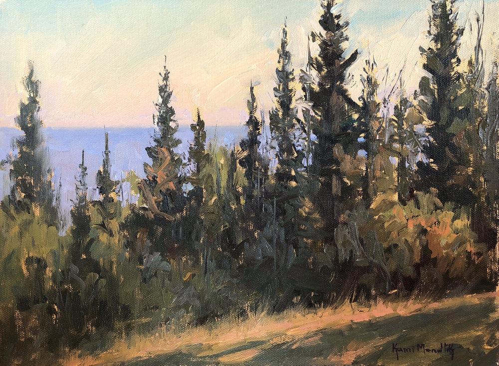 Pine trees painting by Kami Mendlik