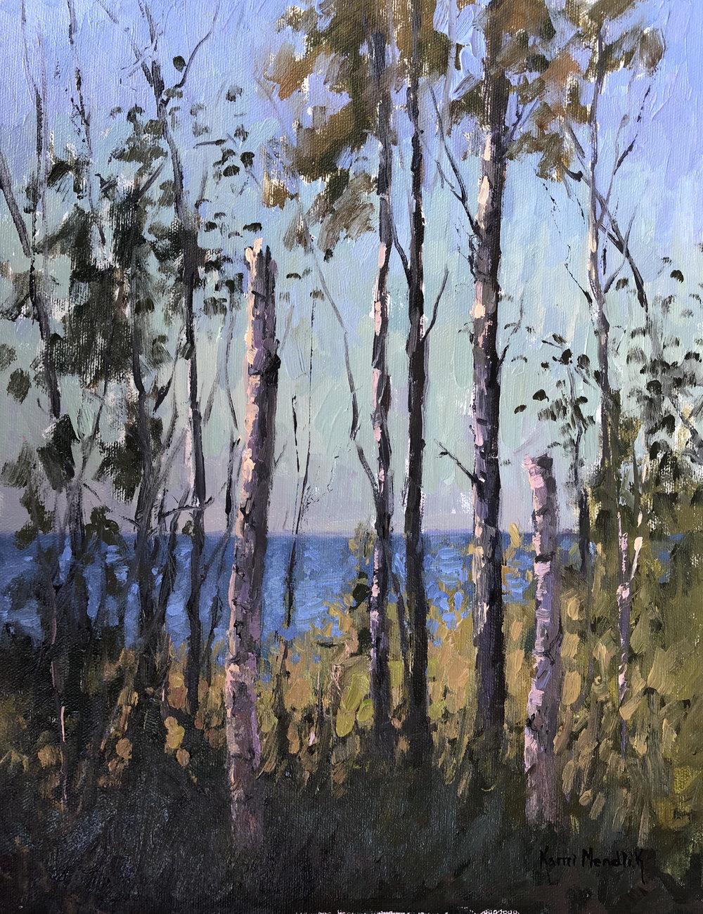 Birch trees painting by Kami Mendlik