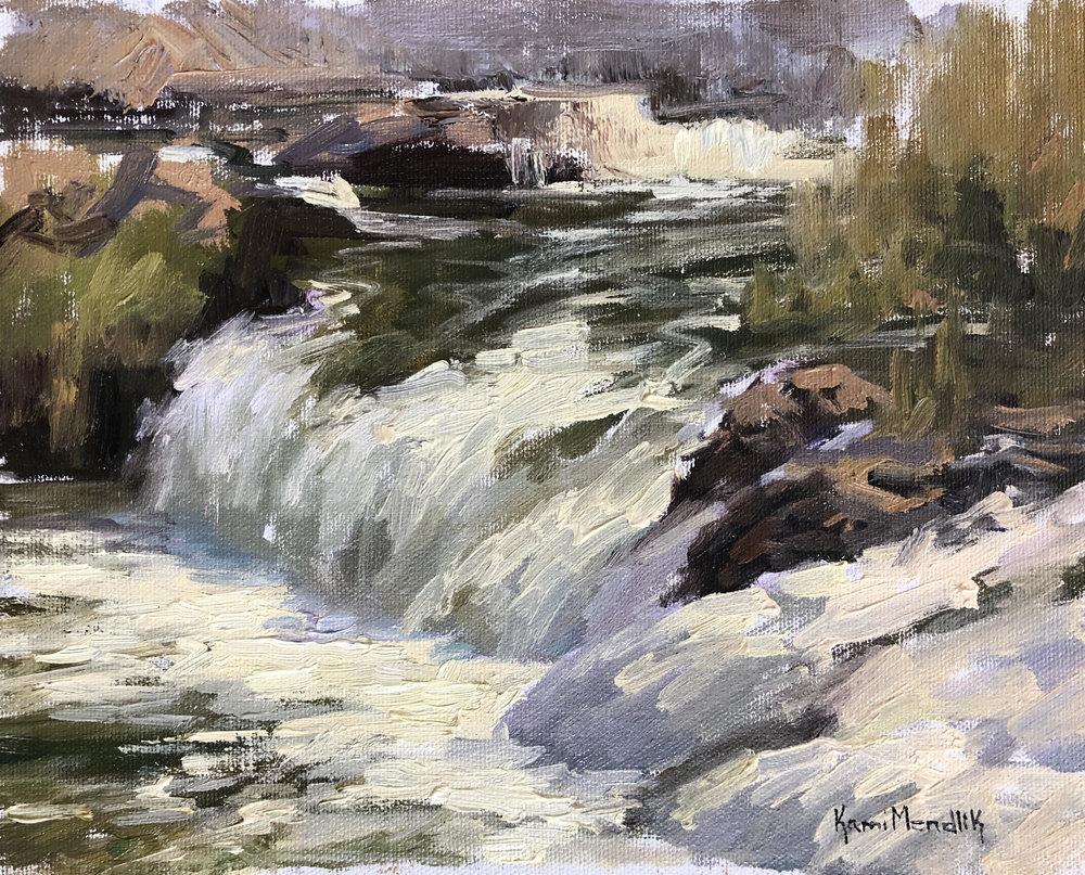River rapids painting by Kami Mendlik