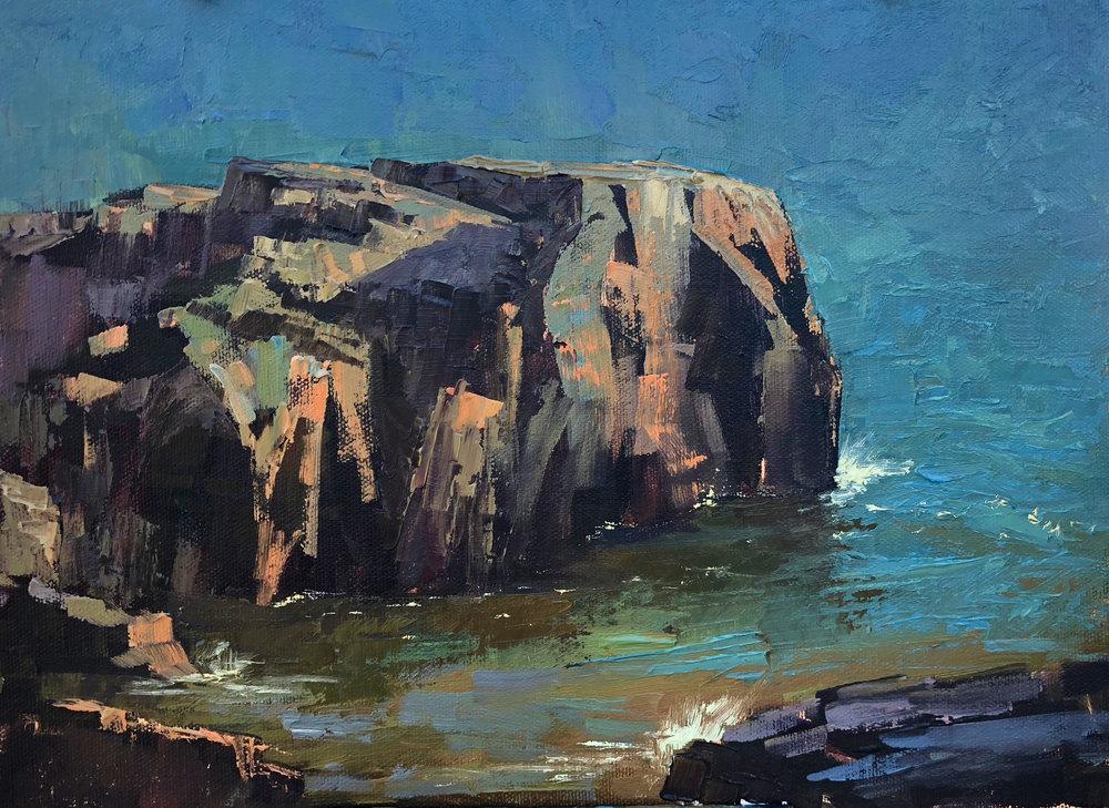 Rocky shore painting by Kami Mendlik
