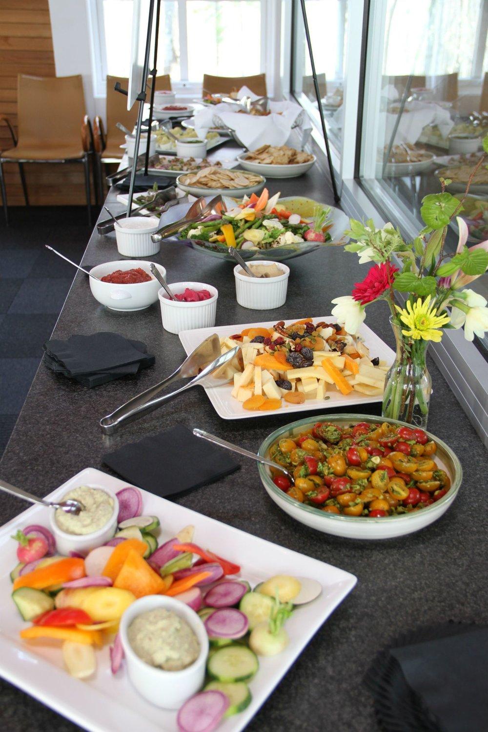 Local fresh food buffet at Wild Rice Retreat