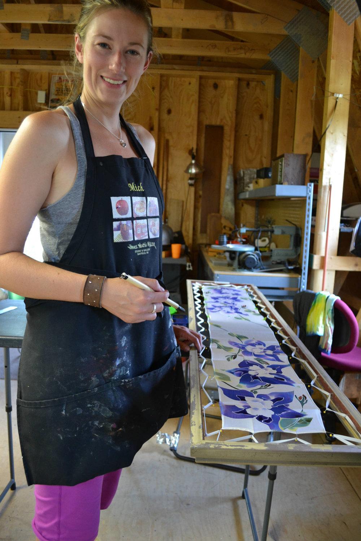 Silk painting student