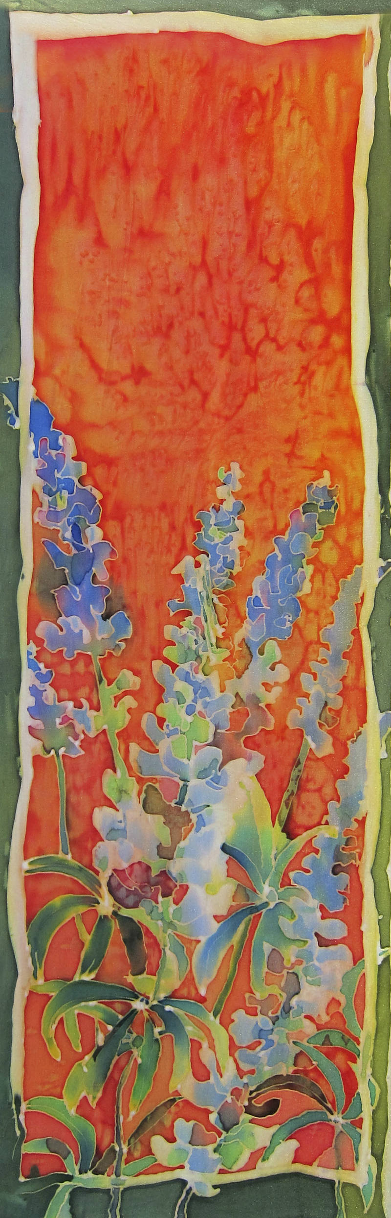 Silk painting of flowers