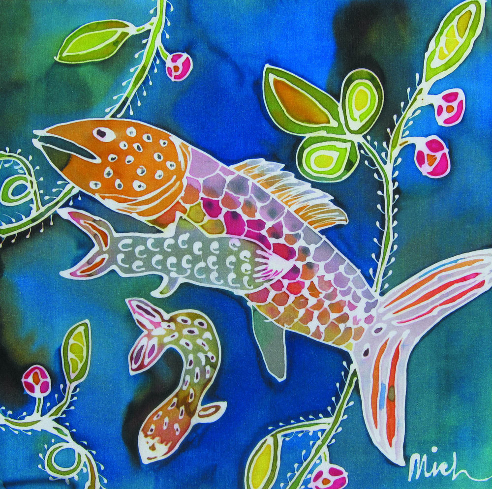 Fish silk painting