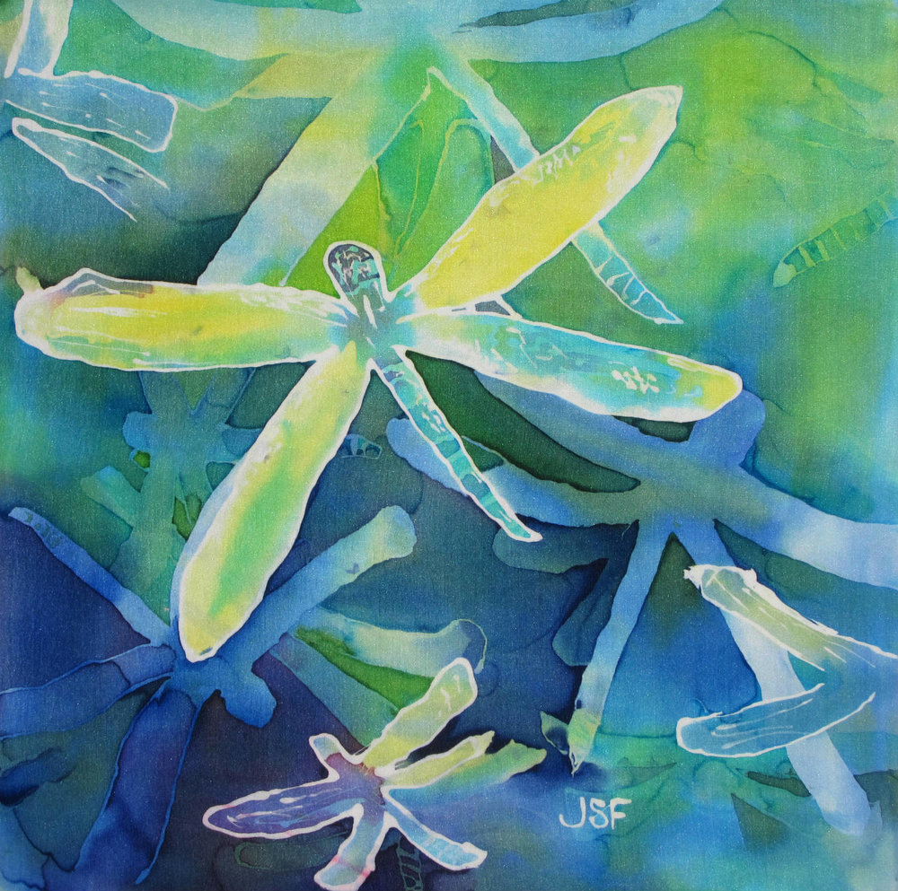Dragonfly silk painting