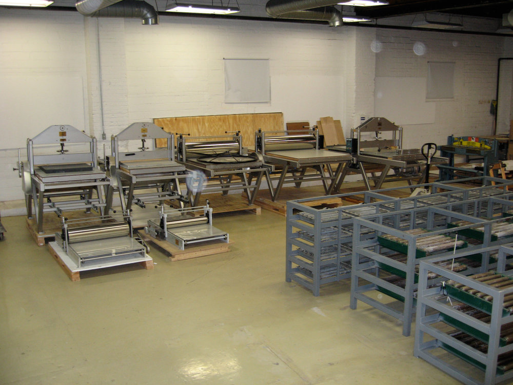 Presses awaiting placement in Co-op and Pro-Shop