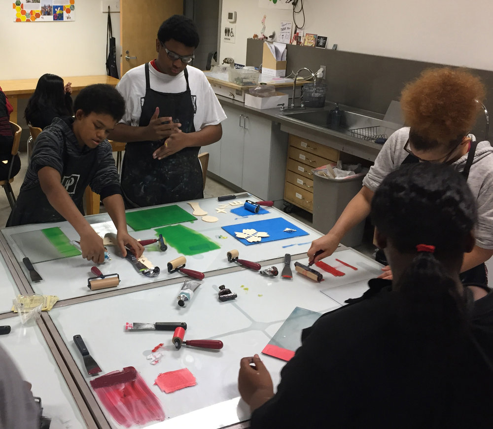 Middle Schoolers Monoprinting