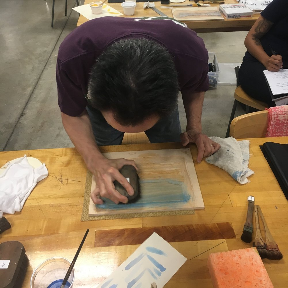 Blending the ukiyo-e ink.