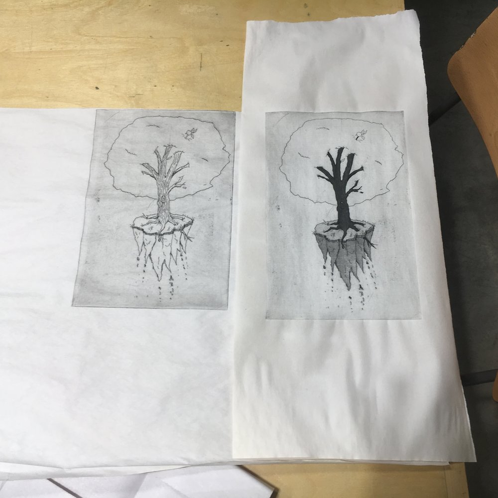 An example of intaglio print progression.