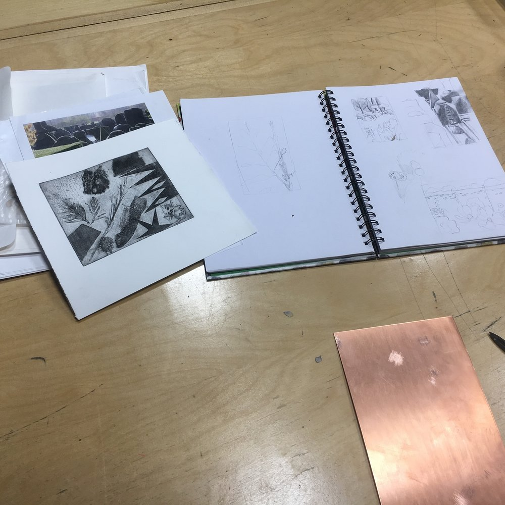 Planning an image to go onto a copper intaglio plate.