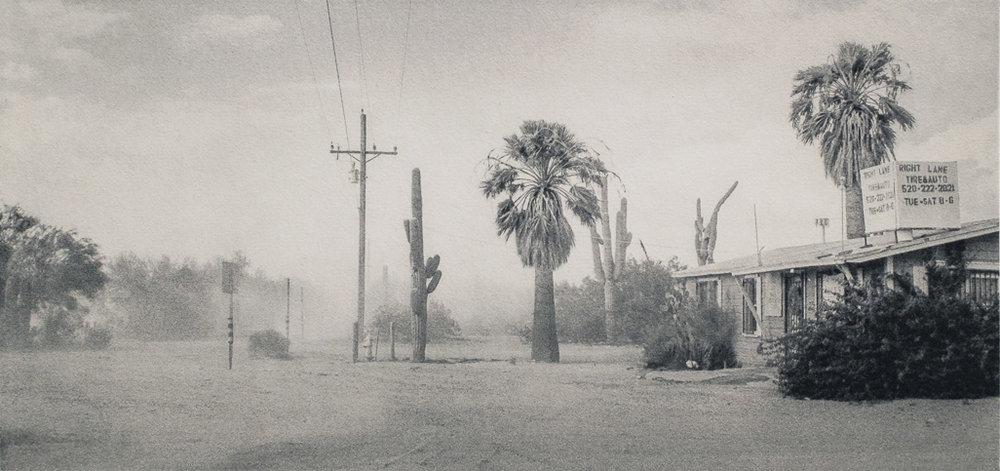 Keith Taylor,   D  ust storm, Saguaro NP, AZ , 2014, Polymergravure