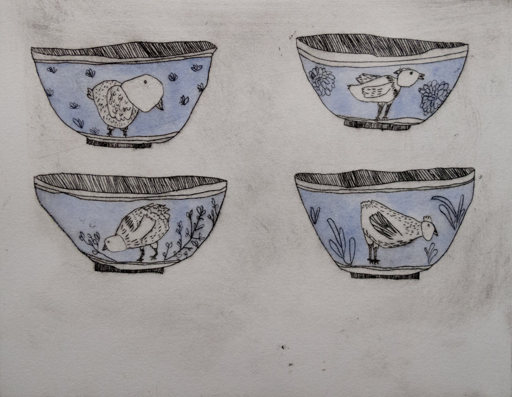 Jane Carlson   Chicken Cups   Drypoint with watercolor