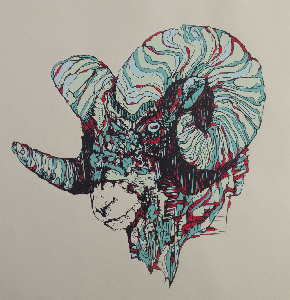 Matthew Kunes   Bighorn   Screenprint