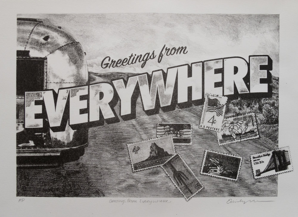 Emily Marsolek   Greetings From Everywhere   Lithograph