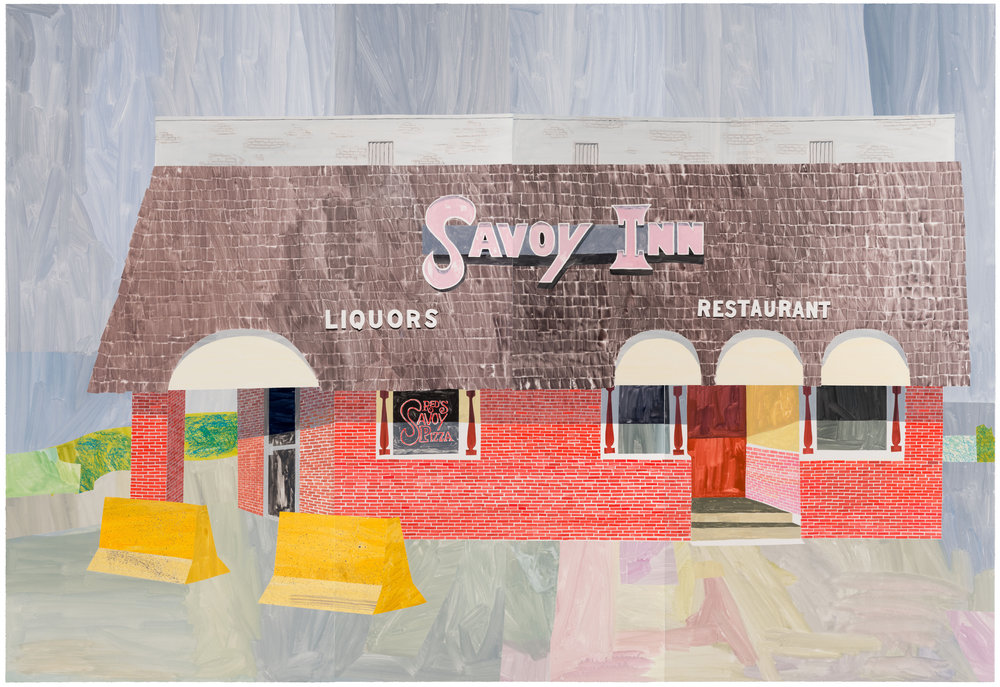 Savoy Inn, St. Paul by Carolyn Swiszcz Unique | Multi-panel monoprint with collage | 5' x 7' |