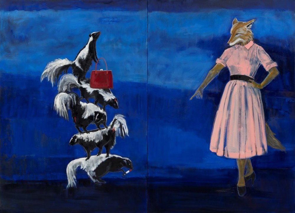 Julie Buffalohead (Ponca),  A Little Medicine and Magic , 2018. Oil on canvas.52 x 72 in. Courtesy of Julie Buffalohead and Bockley Gallery
