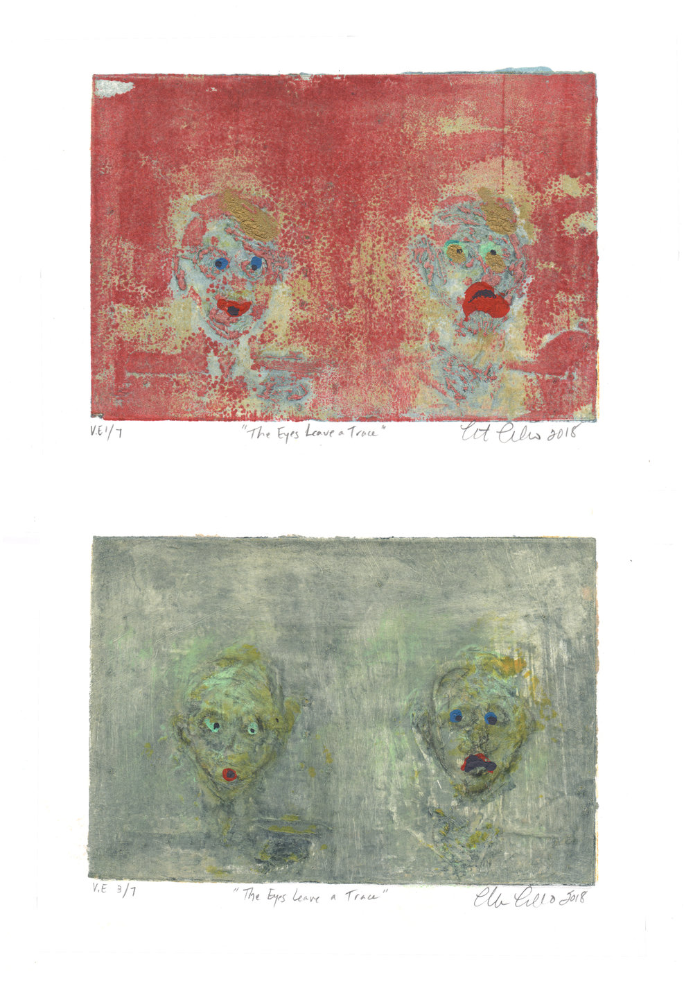 Christine Cosentino, The Eyes Leave a Trace, collagraph and monoprint