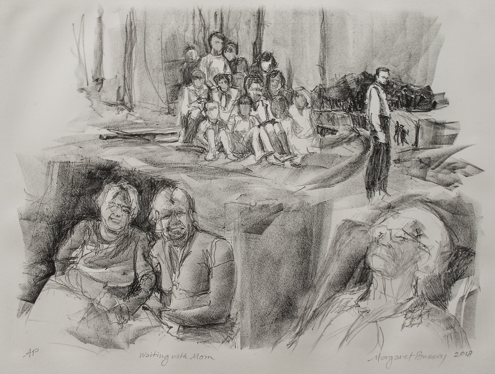Meg Bussey, Waiting with Mom, lithograph