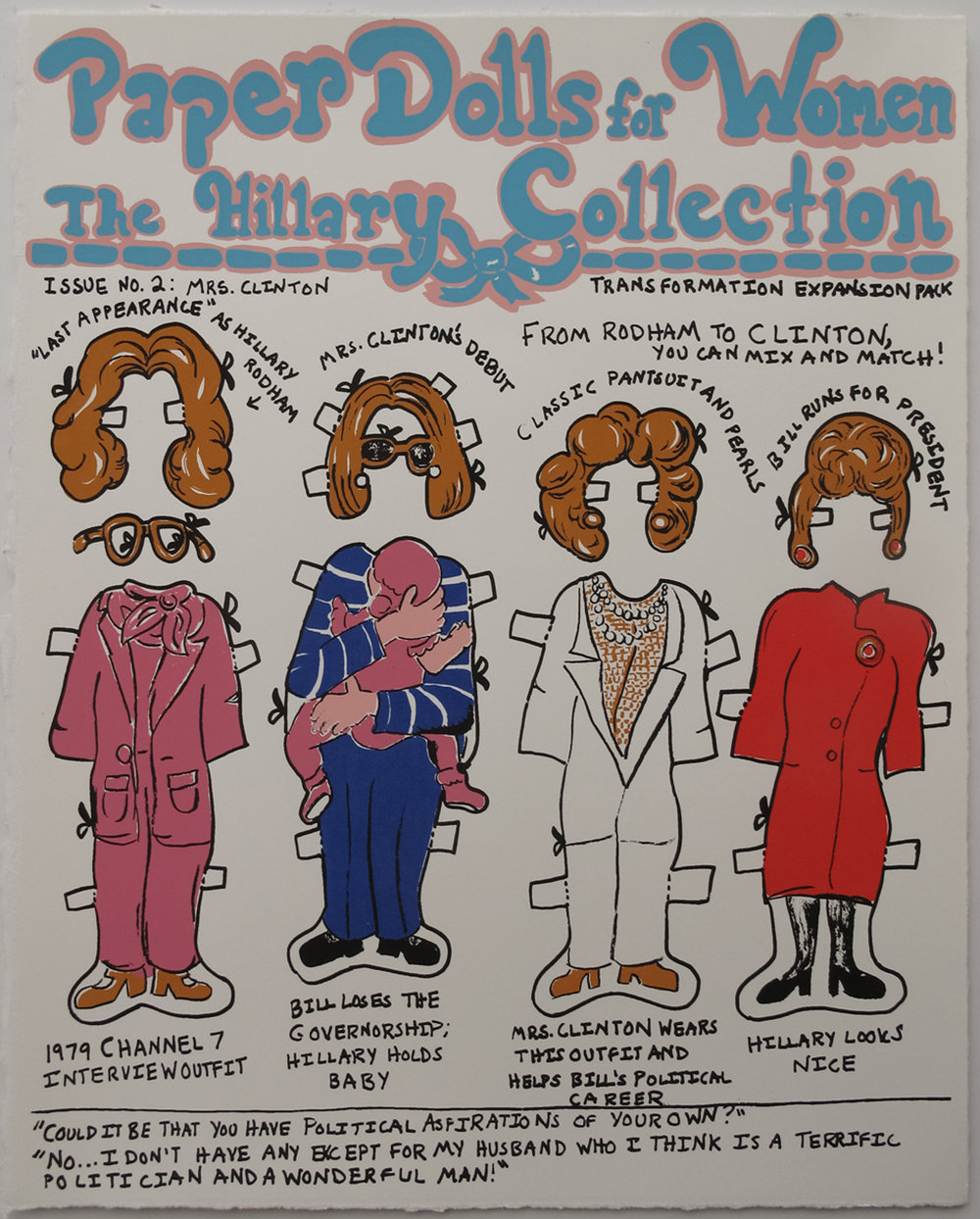 Nicole Soley, Paper Dolls for Women: The Hillary Collection, Issue No. 2, screenprint