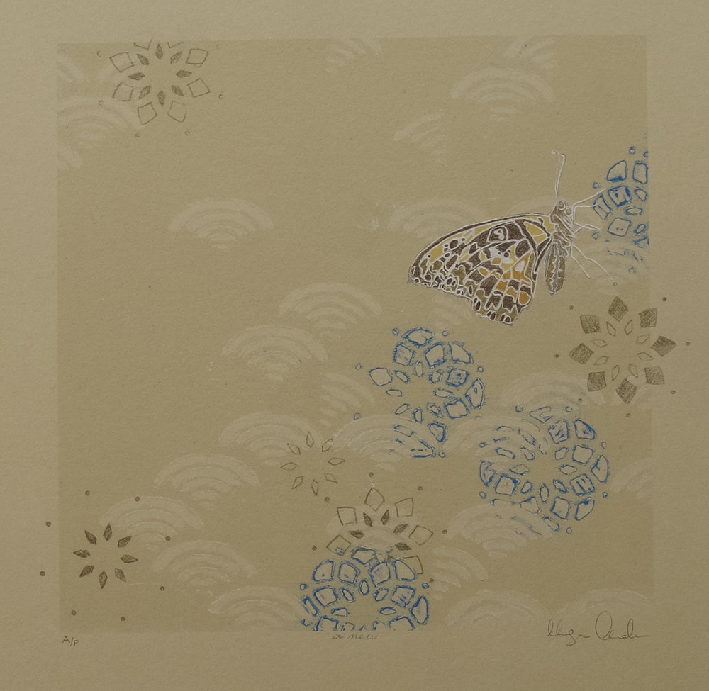 Megan Anderson, Anew, screenprint with hand-coloring