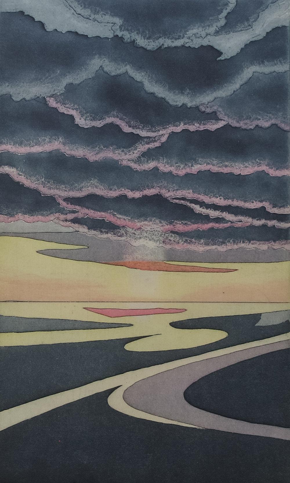 Clara Ueland, Daybreak, intaglio
