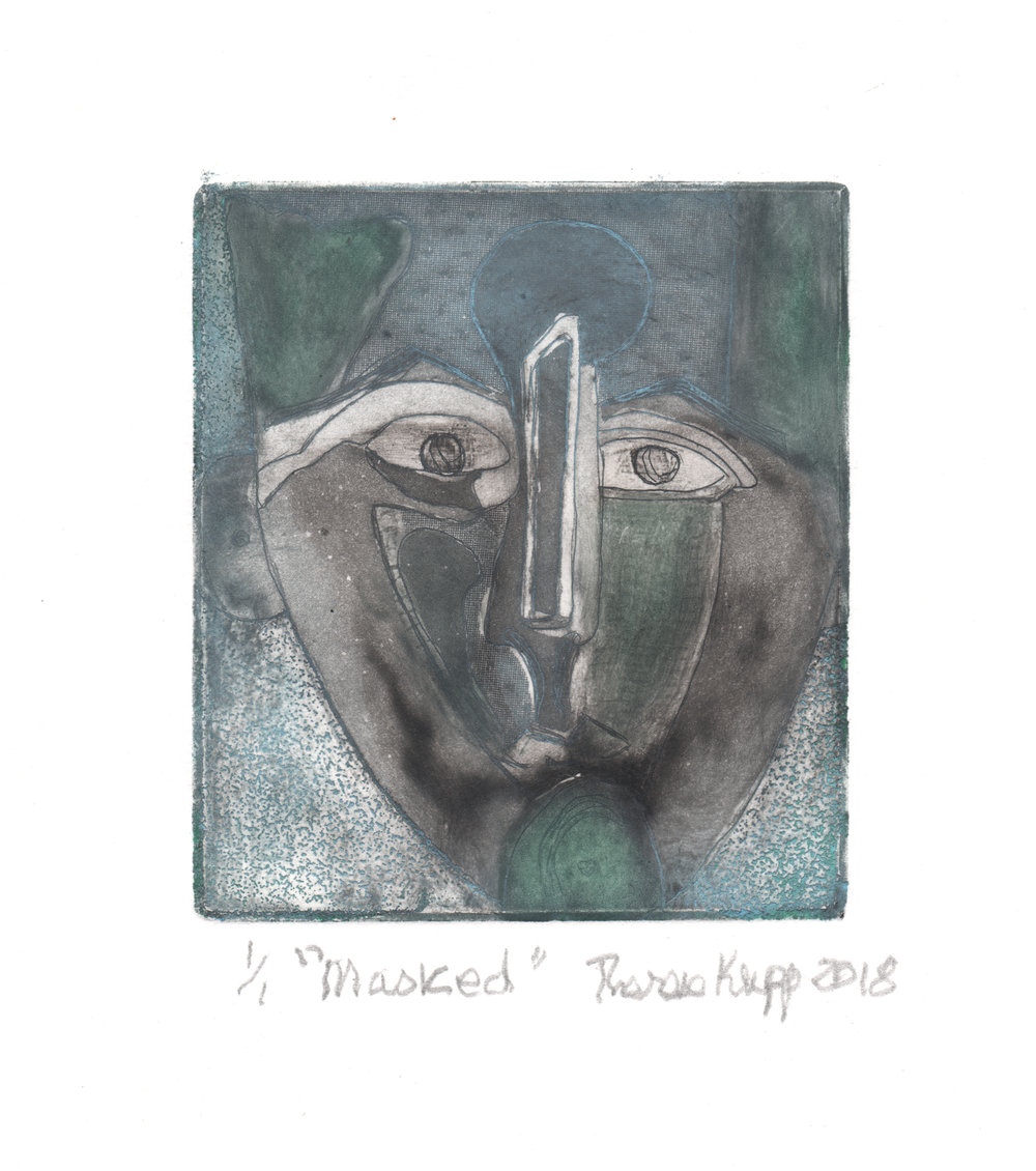 Therese Krupp, Masked, intaglio