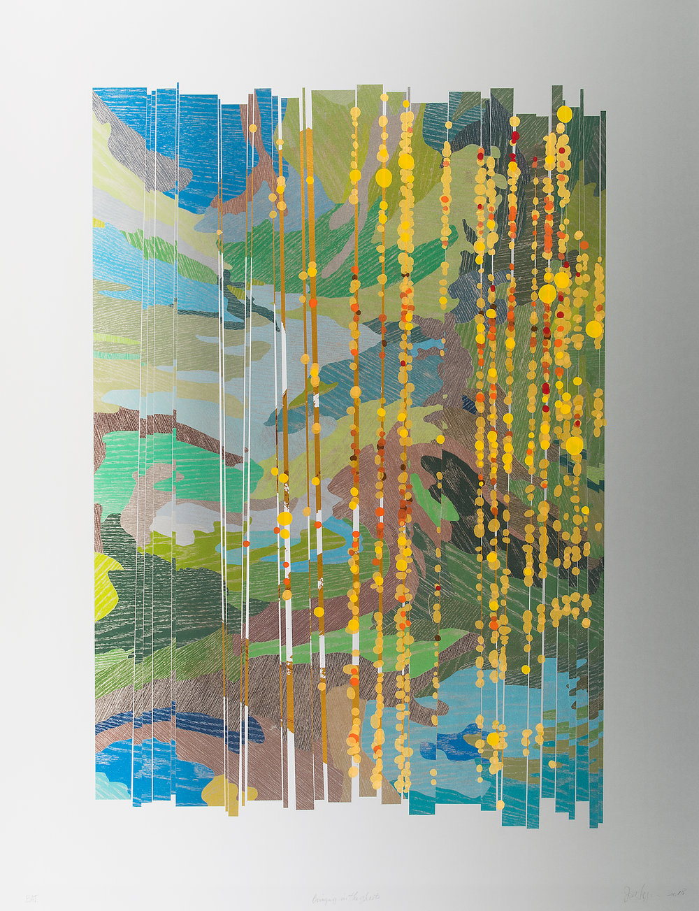 """Bringing in the Ghosts , 2019  Edition of 28 Seventy-nine color lithograph, screen and pigment print with hand cutting, collage and metallic foils. Image 43"""" x 33"""" Paper: 43"""" x 33"""" Photo credit David Kern"""