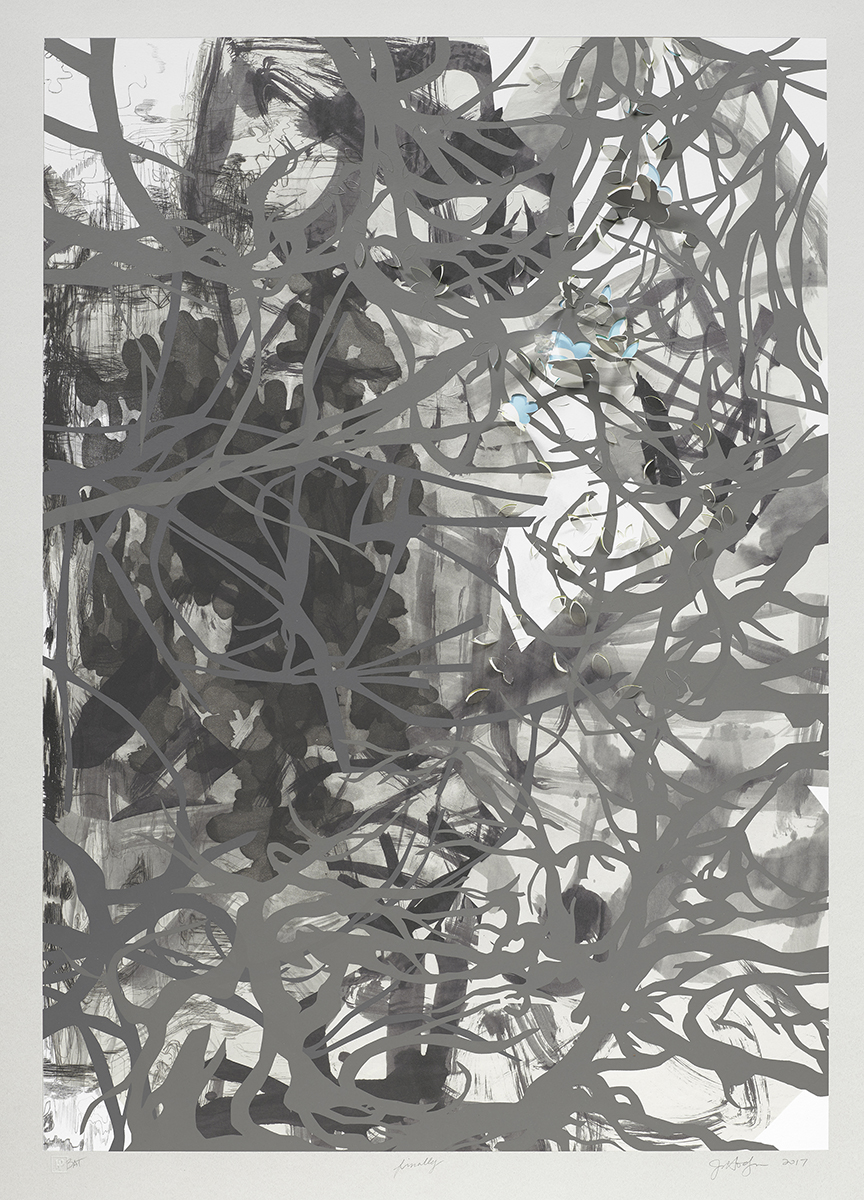 """Finally , 2017  Edition of 28 Intaglio, screen and pigment print with chine collé hand-cut and folded with a hand-cut, folded and assembled holographic foil element. Image: 34"""" x 24""""  Paper: 43"""" x 33"""""""